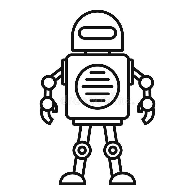 Leksakrobotsymbol, översiktsstil stock illustrationer