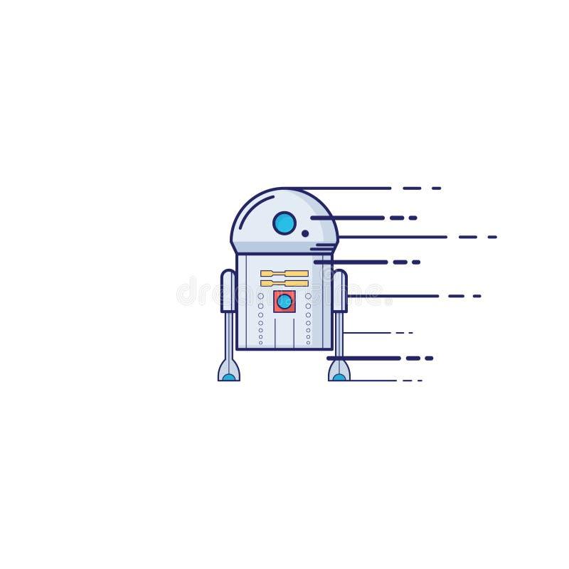 Leksakrobotsymbol i tunn översiktsstil klar vektor för nedladdningillustrationbild stock illustrationer
