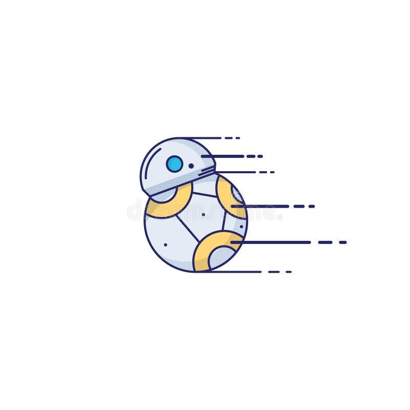 Leksakrobotsymbol i tunn översiktsstil klar vektor för nedladdningillustrationbild vektor illustrationer