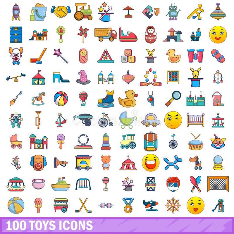 100 leksaksymboler uppsättning, tecknad filmstil vektor illustrationer