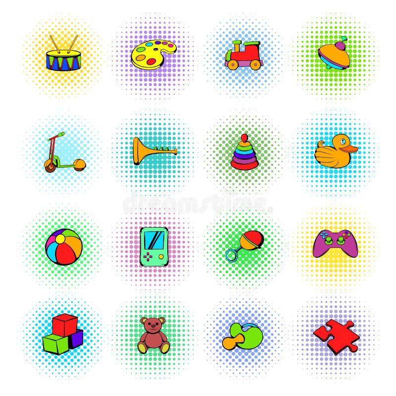 Leksaksymbolsuppsättning, komikerstil royaltyfri illustrationer