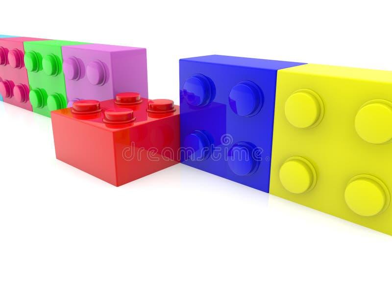 Leksaktegelsten ut ur färgrika leksaktegelstenar ror vektor illustrationer