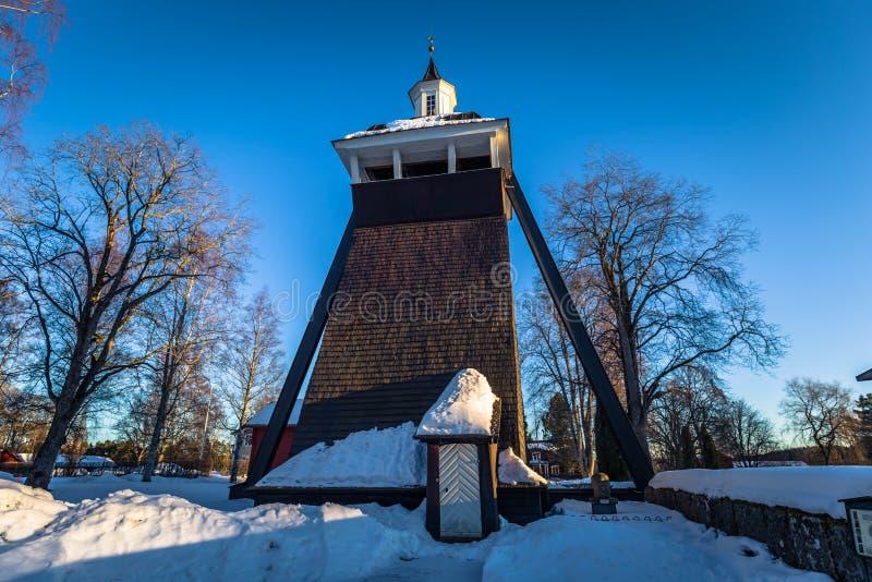 Leksand - 2018年3月30日:Leksand教会的塔在达拉纳省,瑞典 免版税库存照片