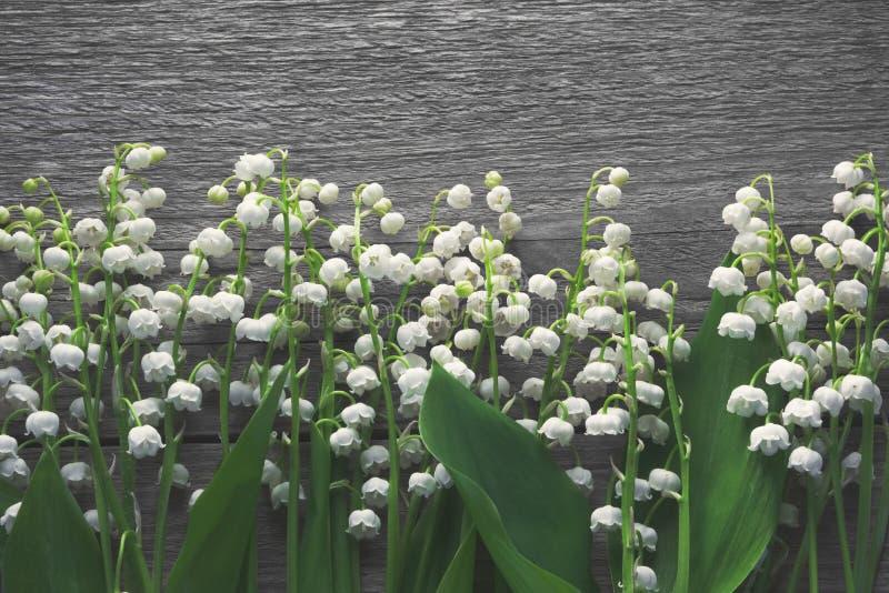 Lelietje-van-dalenbloemen op houten achtergrond stock foto's