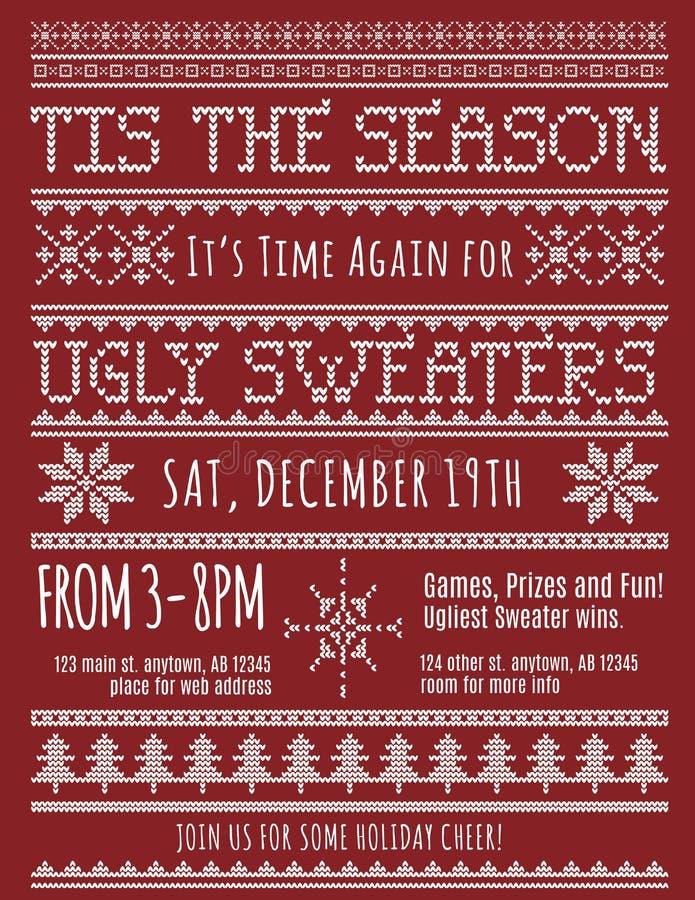 Lelijke de Partijuitnodiging van de Kerstmissweater vector illustratie