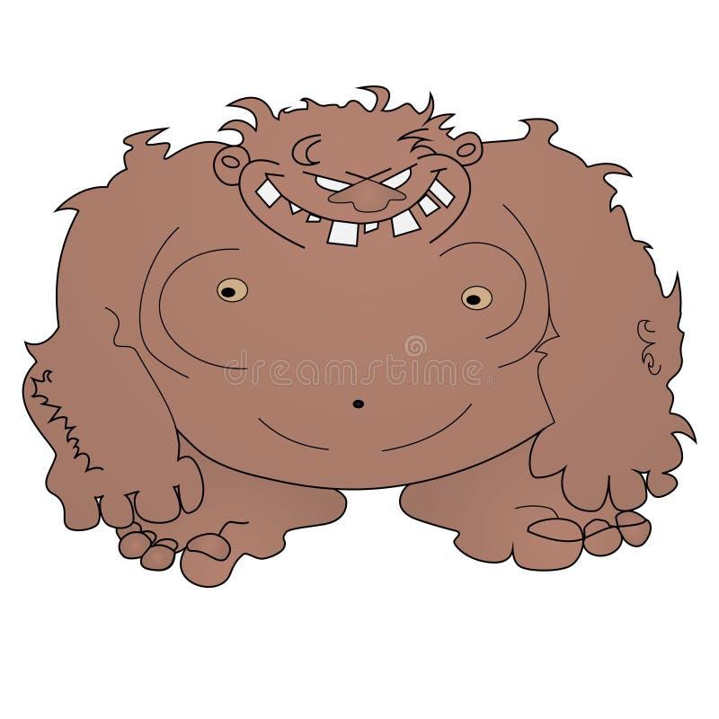 Lelijke enge yeti (bigfoot) schets op wit stock illustratie