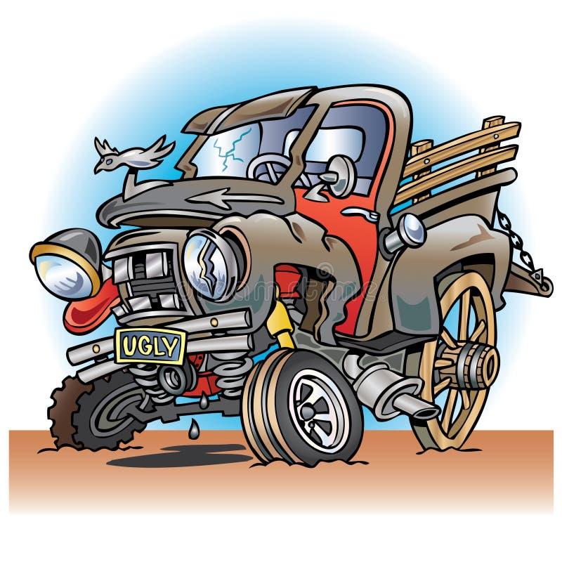 Lelijke opgesplitste oude landbouwbedrijfvrachtwagen vector illustratie