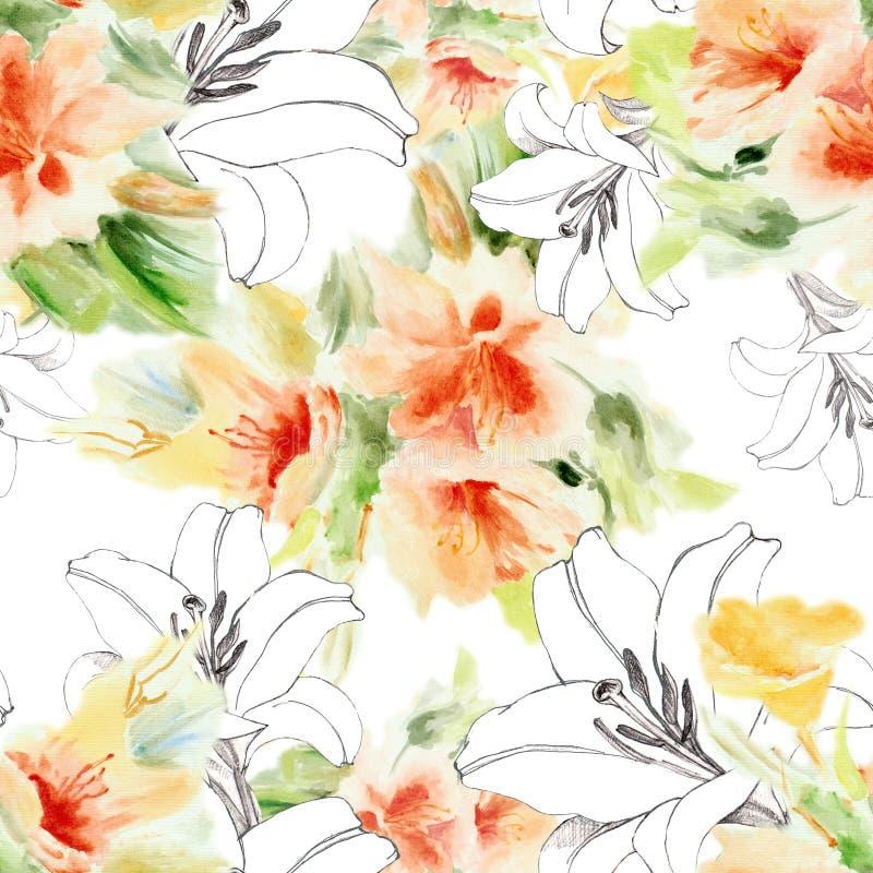 Lelui grafiki kwiaty z bukietów kwiatami akwarela bezszwowy wzoru Biała wersja royalty ilustracja
