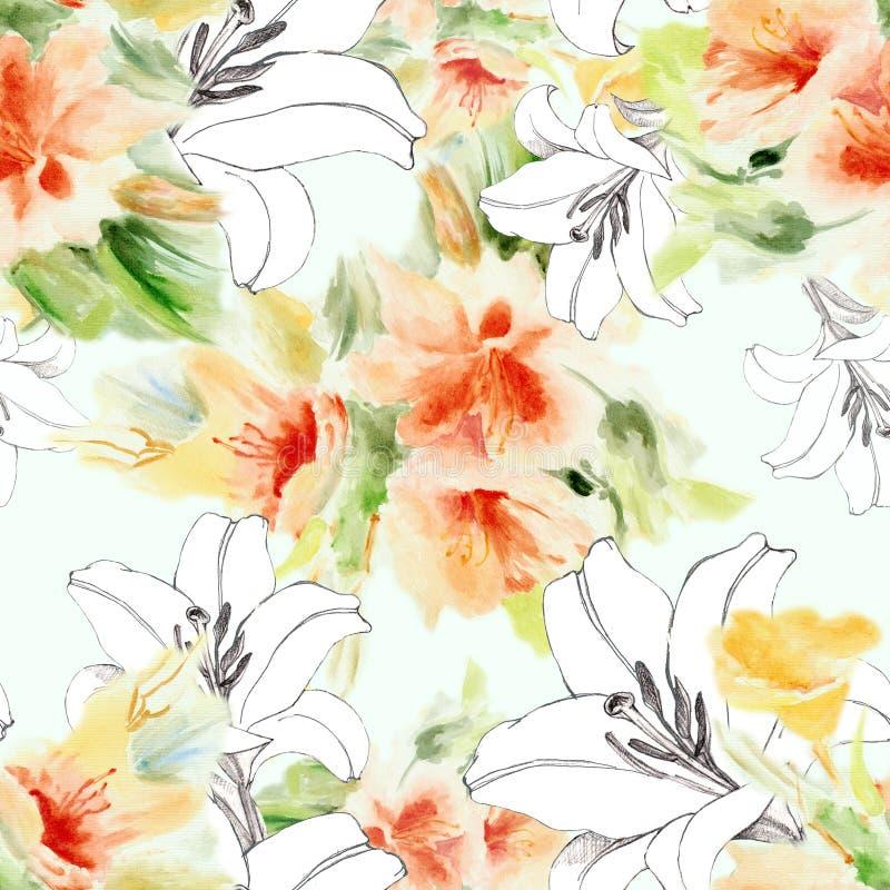 Lelui grafiki kwiaty z bukietów kwiatami akwarela bezszwowy wzoru Wapno zieleni wersja ilustracji