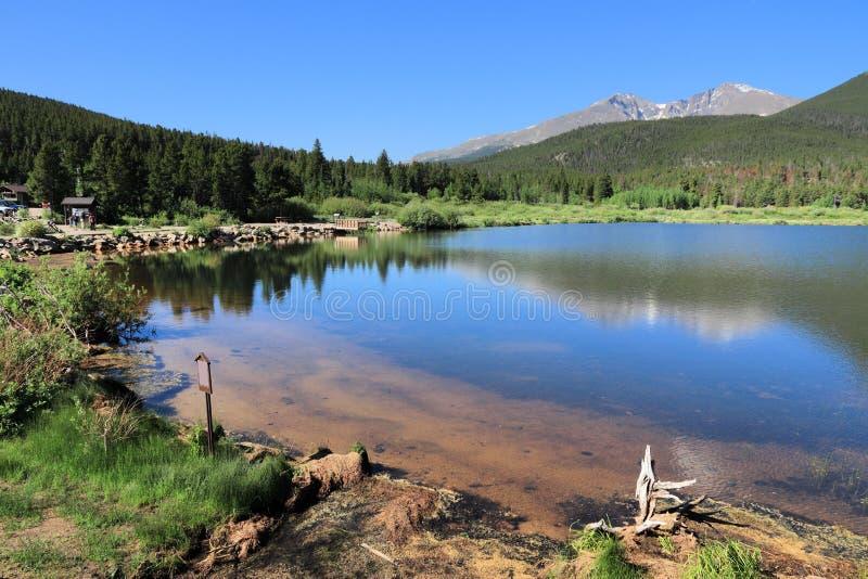 Leluja jezioro, Skaliste góry fotografia stock