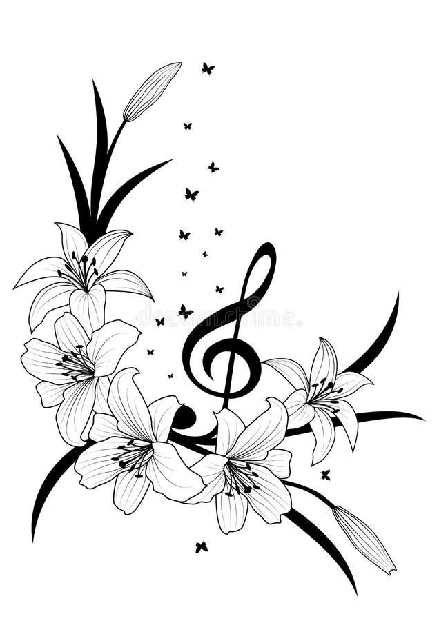 Leluja, treble clef i motyle, royalty ilustracja