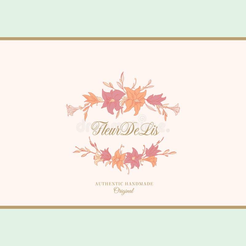 Leluja wektoru Abstrakcjonistyczny znak, emblemat lub loga szablon, Ręka Rysująca kwiat rama z Retro typografią i klasykiem royalty ilustracja