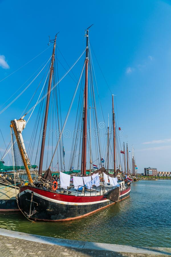 Lelystad, The Netherlands april 11 2018, old wooden sailing ship. S in Dutch harbour stock photos