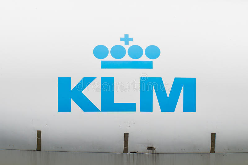 LELYSTAD, OS PAÍSES BAIXOS - 9 DE JUNHO; Logotipo de KLM holandês, real foto de stock royalty free