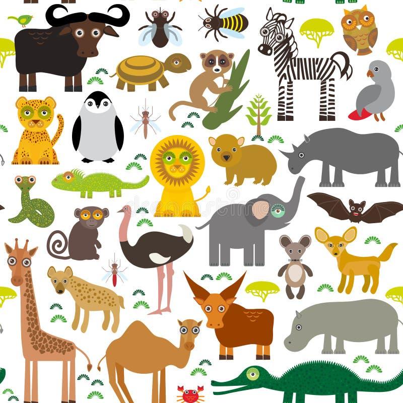 Lem animale dello struzzo del tsetse del cammello del serpente dell'elefante della tartaruga del coccodrillo dell'ippopotamo dell royalty illustrazione gratis