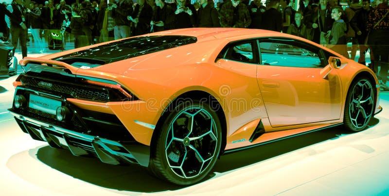 Lemański Motorowego przedstawienia Lamborghini sportów 2019 huracan samochód obrazy stock