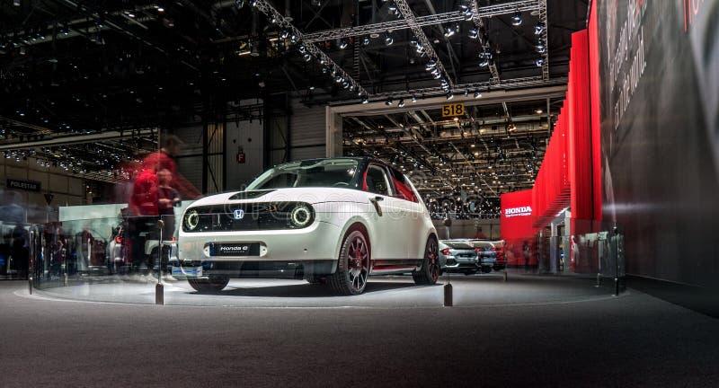 Lemański Motorowy przedstawienia Honda E 2019 Elektryczny prototypowy samochód zdjęcia stock