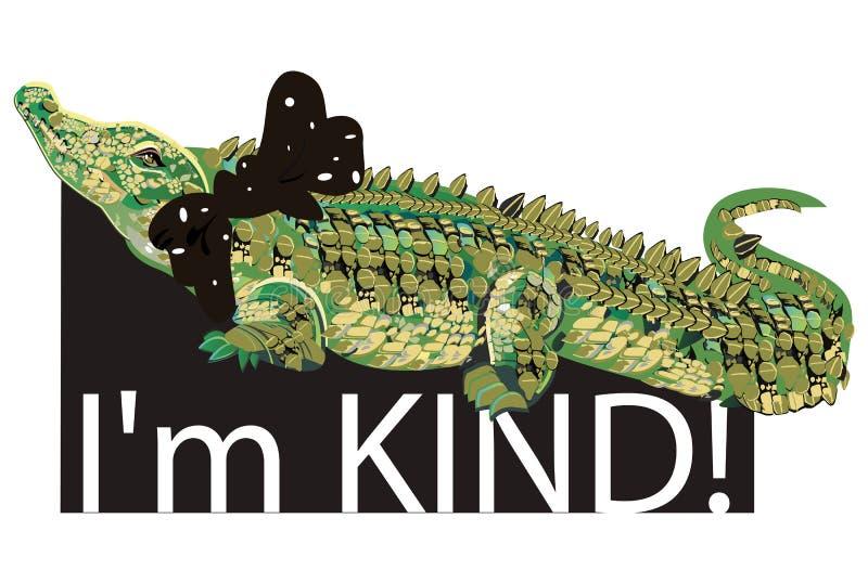 Lema con el carácter del cocodrilo de la moda con un arco ilustración del vector