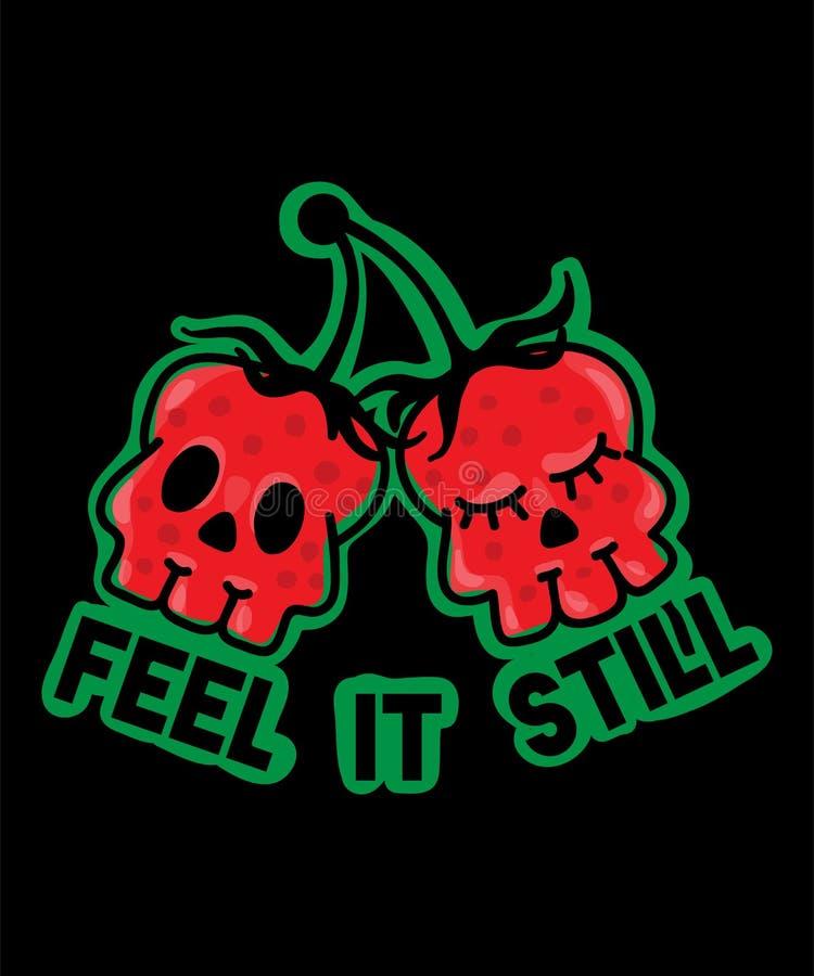 Lema con las bayas del cráneo para las ropas de la moda, camiseta ilustración del vector