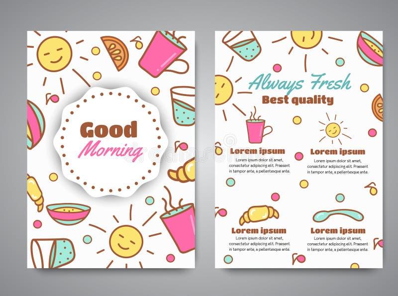 Lema de la buena mañana en el folleto Menú del desayuno para el ejemplo del café Texto siempre fresco Café, concepto de la panade libre illustration