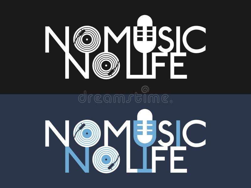 Lema de la música para la impresión Diseño de la música fijado para la camiseta Tema del disco de vinilo y del micrófono para la  ilustración del vector