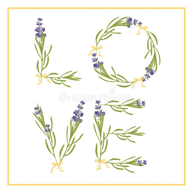 Lema de la tipografía con el amor del texto de la flor de la lavanda para la impresión de la camiseta, bordado, diseño camiseta g ilustración del vector