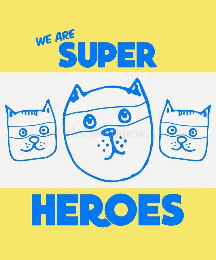 Lema de la tipografía con el vector lindo de los gatos para la impresión y bordado de la camiseta, camiseta gráfica y camiseta im ilustración del vector