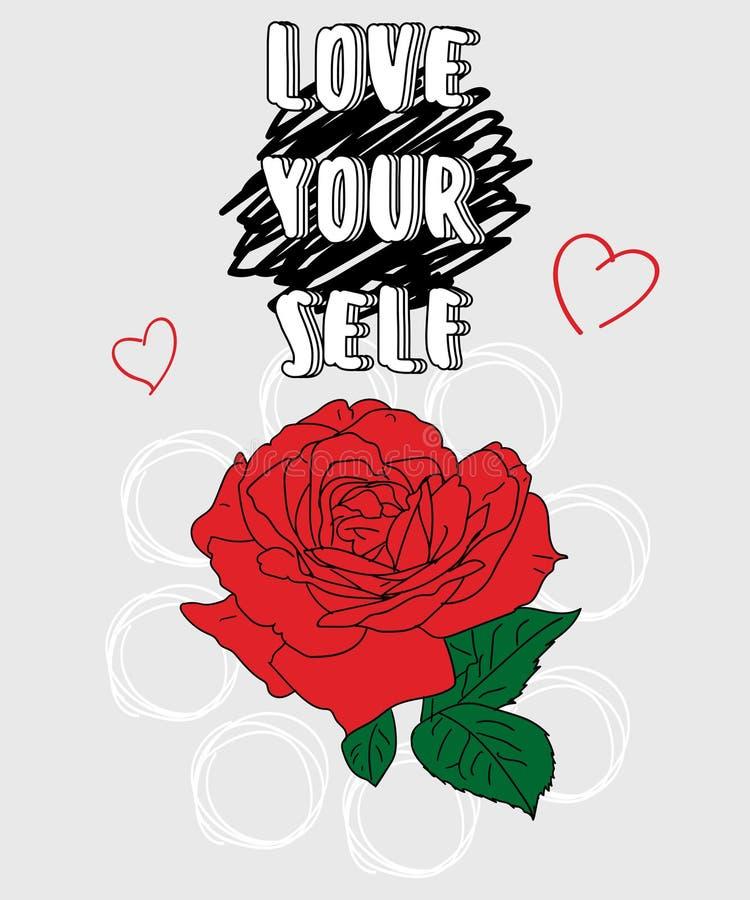 Lema de la tipografía con el vector de la rosa del rojo para la impresión y bordado de la camiseta, camiseta gráfica y camiseta i stock de ilustración