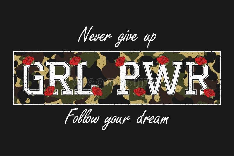 Lema de la tipografía en la textura del camuflaje para la camiseta de las muchachas Gráficos feministas de la moda con la flor co ilustración del vector