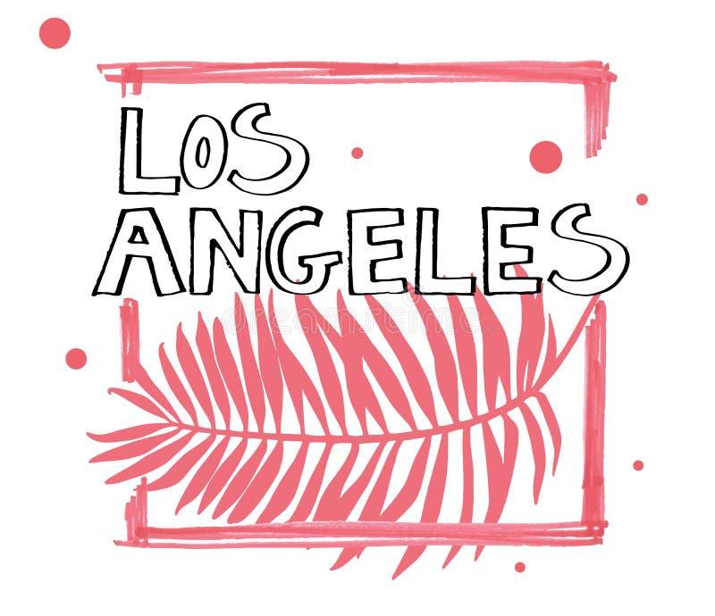 Lema de la tipografía Vector dibujado mano de Los Ángeles para la impresión de la camiseta libre illustration