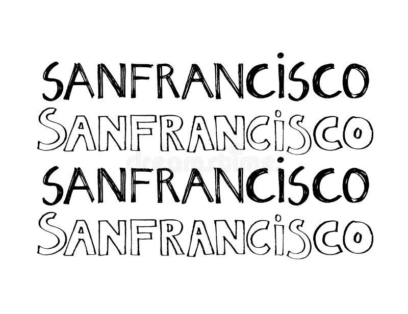 Lema de la tipografía Vector dibujado mano de San Francisco para la impresión de la camiseta stock de ilustración