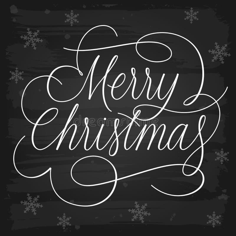 Lema de los saludos de la Feliz Navidad en la pizarra libre illustration