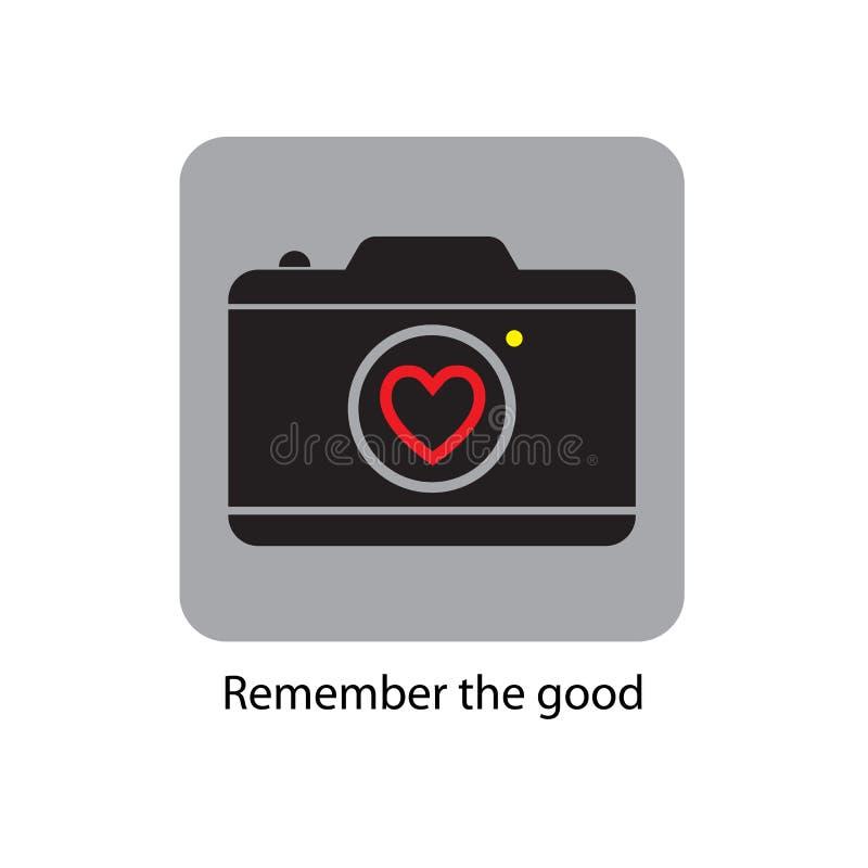 Lema de Ypography Icono - una cámara con un corazón Ilustración del vector libre illustration