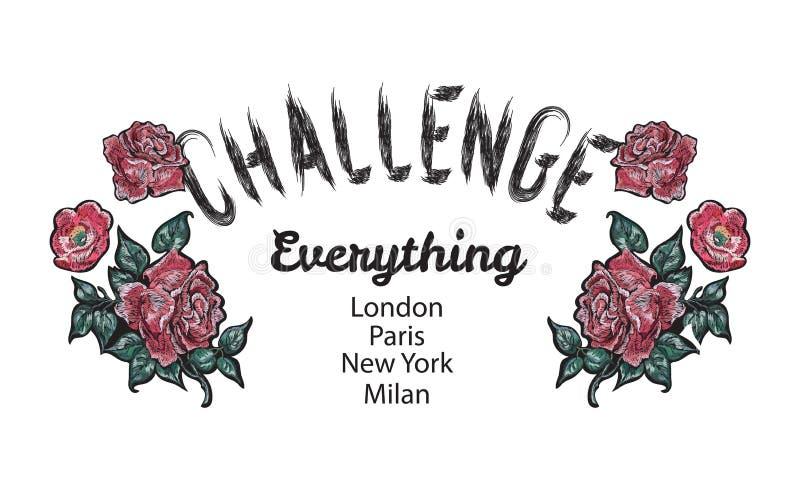 Lema del desafío con las rosas rojas bordadas ilustración del vector