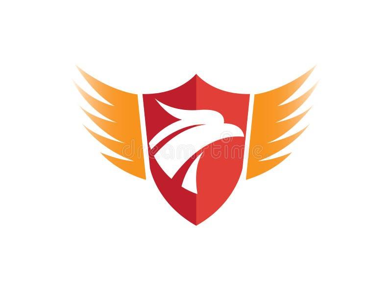 Lema del escudo con la cabeza y las alas del águila para el diseño del logotipo stock de ilustración