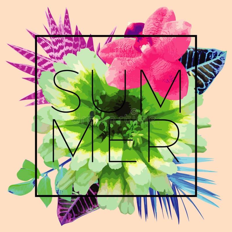 Lema del verano Impresión floral de moda ilustración del vector