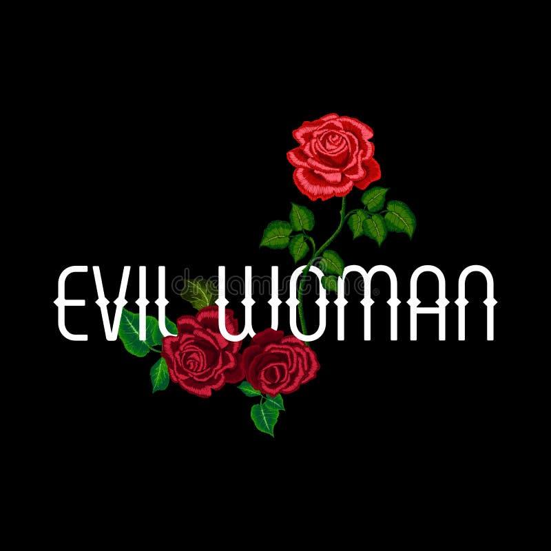 Lema malvado con las rosas del bordado para las ropas de la moda, camiseta de la mujer stock de ilustración