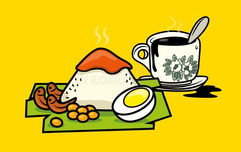 Lemak malay tradicional del nasi de la comida con el café tradicional de Hainanese ilustración del vector