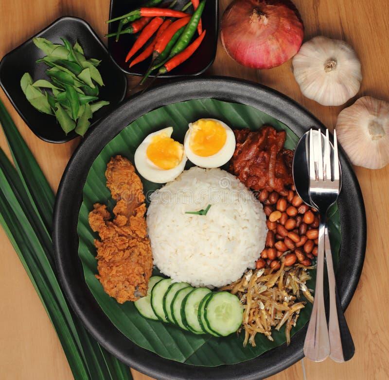 Lemak nasi еды Малайзии стоковое изображение
