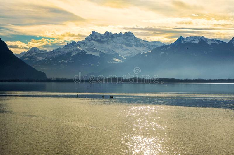 Leman sjön, Schweiz royaltyfri bild