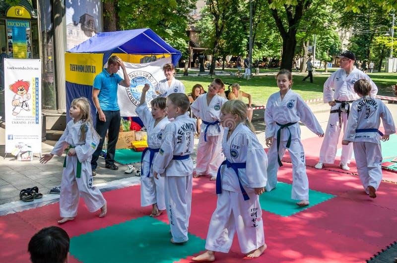 Lemberg, Ukraine - Juli 2015: Yarych-Straße Fest 2015 Demonstrationsübung draußen in den Parkkindern und in ihrem Lehrer taekwon stockfotografie