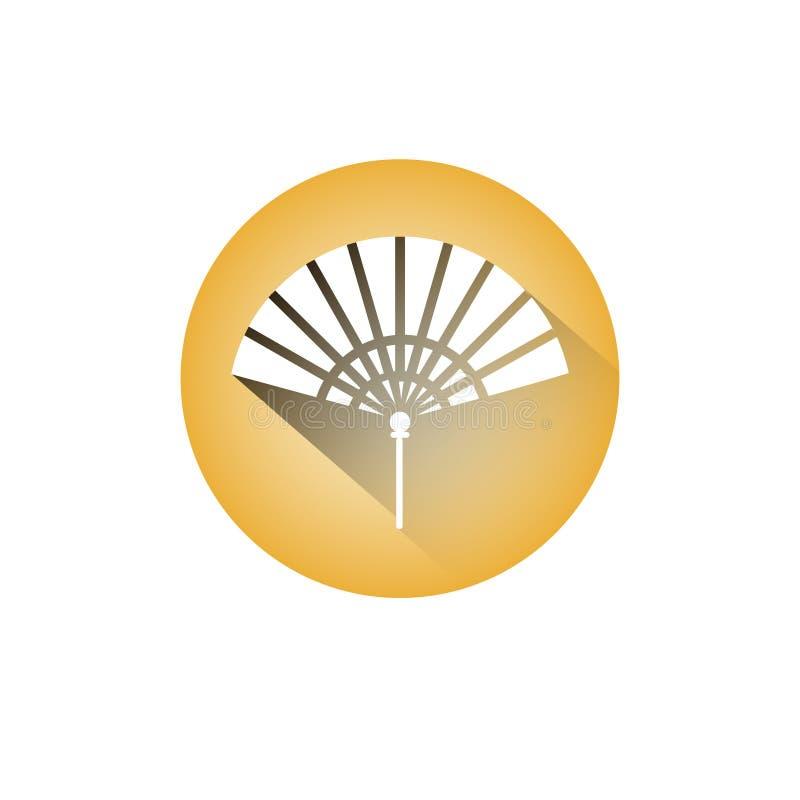 Lembrança do papel chinês do ícone do fã da mão ou símbolo de Accesory ilustração do vetor