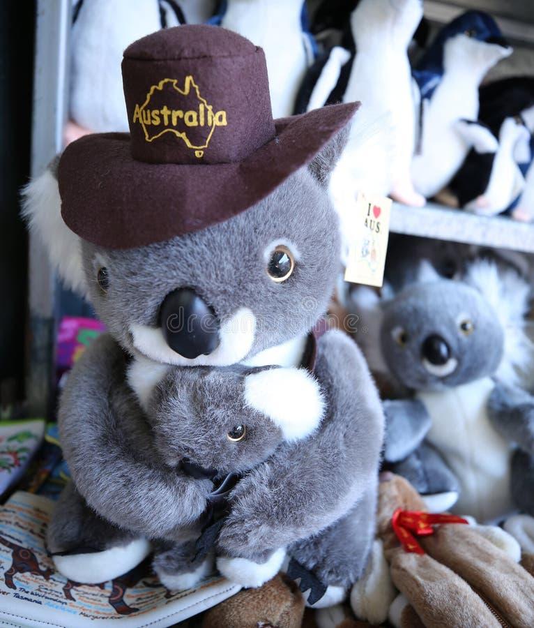 Lembranças australianas na exposição na rainha Victoria Market em Melbourne fotos de stock
