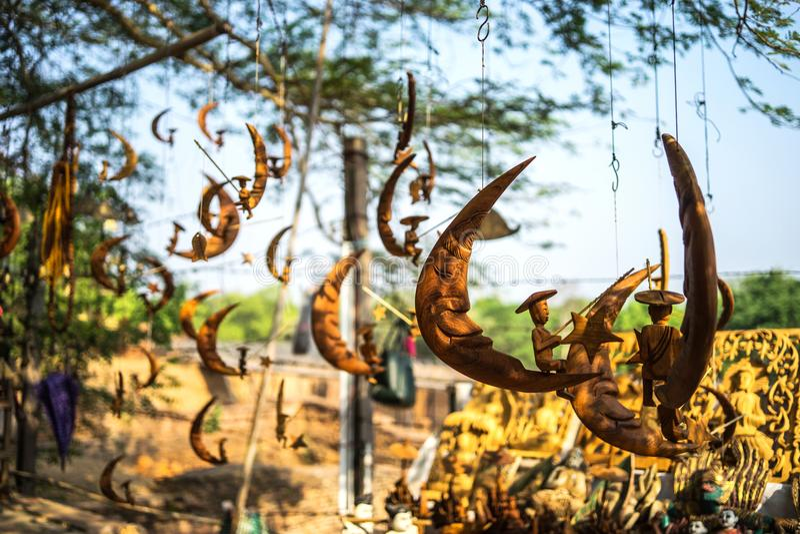 Lembranças a ser vendidas no mercado, Bagan-Myanmar foto de stock
