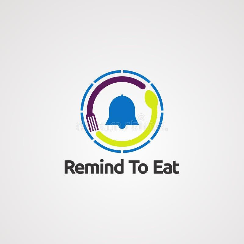 Lembre para comer com conceito, ícone, elemento, e molde do vetor do logotipo do alarme do círculo para a empresa ilustração royalty free