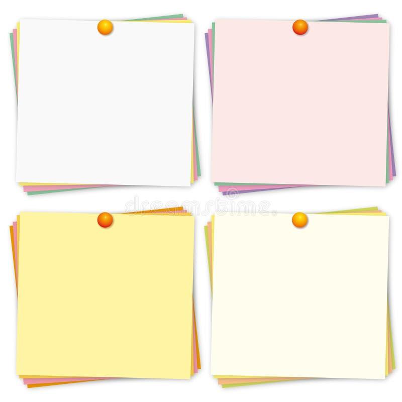 Lembretes coloridos ajustados. ilustração stock