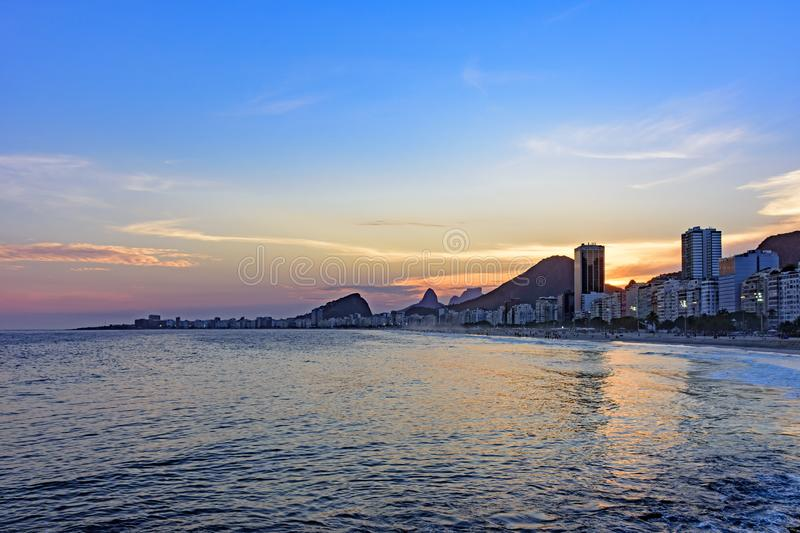 Leme and Copacabana beaches in Rio de Janeiro during sunset royalty free stock images