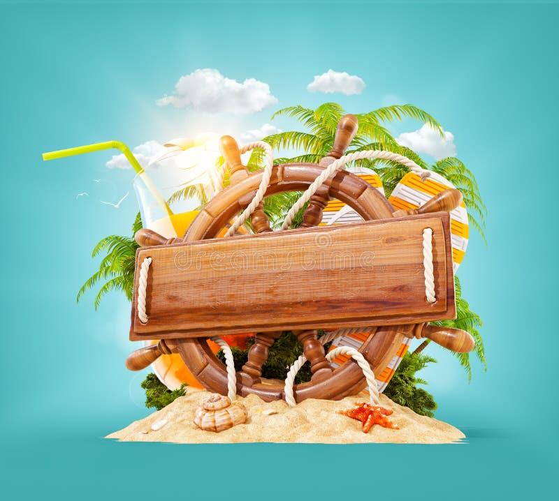 Leme de madeira com uma prancha de madeira vazia ilustração royalty free