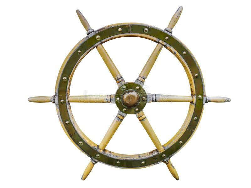 Leme de madeira do volante do navio do vintage isolado em um fundo branco Vintage velho do navio, volante de madeira isolado no w imagens de stock