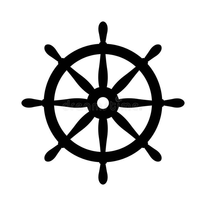 Leme preto náutico isolado no branco Sinal do volante do navio e do barco Ícone do controle da roda do barco Etiqueta do leme ilustração royalty free
